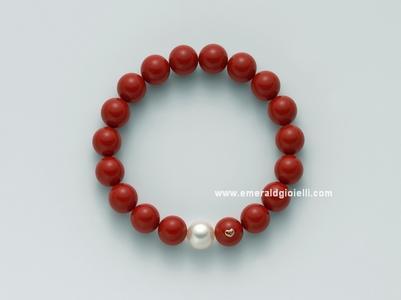 PBR1800 Bracciale con Corallo Rosso e Perla Miluna