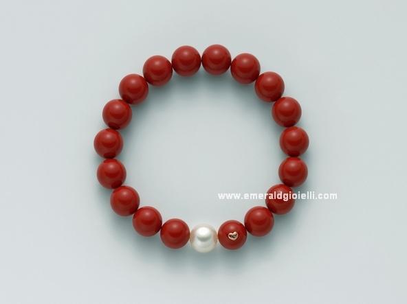 PBR1800 Bracciale color Corallo Rosso e Perla Miluna