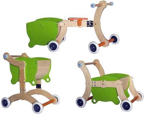 Girello Cavalcabile e Carrello in legno per Bambini Grow UP di Mishi Design