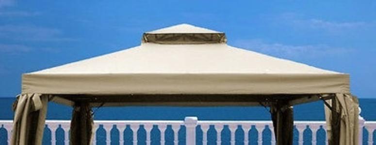 Telo ricambio Universale IN textilene per Gazebo Telone impermeabile beige telo di ricambio con bordo per gazebo gazebi mt. 3x4 in textilene impermeabile SEAGRP34