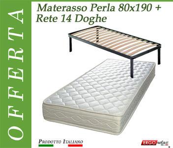 Offerta Pack Tutto Compreso Materasso Perla Singolo da Cm. 80x190/195/200 + Rete Vienna 14 Doghe - Made in Italy