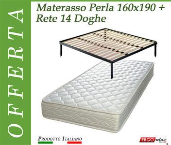 Offerta Pack Tutto Compreso Materasso Perla Matrimoniale da Cm. 160x190/195/200 + Rete Vienna 14 Doghe - Made in Italy