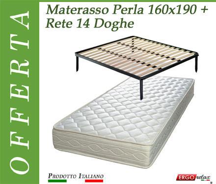 Rete Matrimoniale Con Materasso.Offerta Pack Tutto Compreso Materasso Perla Matrimoniale Da Cm 160x190 195 200 Rete Vienna 14 Doghe Made In Italy