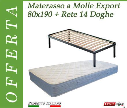 Offerta Pack Tutto Compreso Materasso a Molle Export Singolo da Cm. 80x190 + Rete Vienna 14 Doghe - Made in Italy