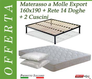 Offerta Pack Tutto Compreso Materasso a Molle Export Matrimoniale da Cm. 160x190 + Rete Vienna 14 Doghe + 2 Cuscini - Made in Italy