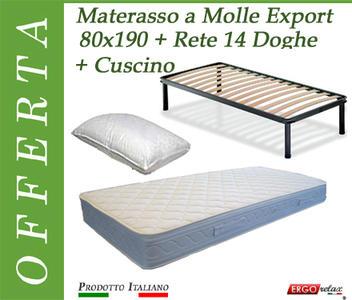 Offerta Pack Tutto Compreso Materasso a Molle Export Singolo da Cm. 80x190 + Rete Vienna 14 Doghe + Cuscino - Made in Italy