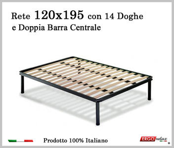 Rete per materasso a 14 doghe in faggio VIENNA 120x195 con Doppia Barra Centrale cm. 100% Made in  Italy