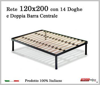 Rete per materasso a 14 doghe in faggio VIENNA 120x200 con Doppia Barra Centrale cm . 100% Made in Italy