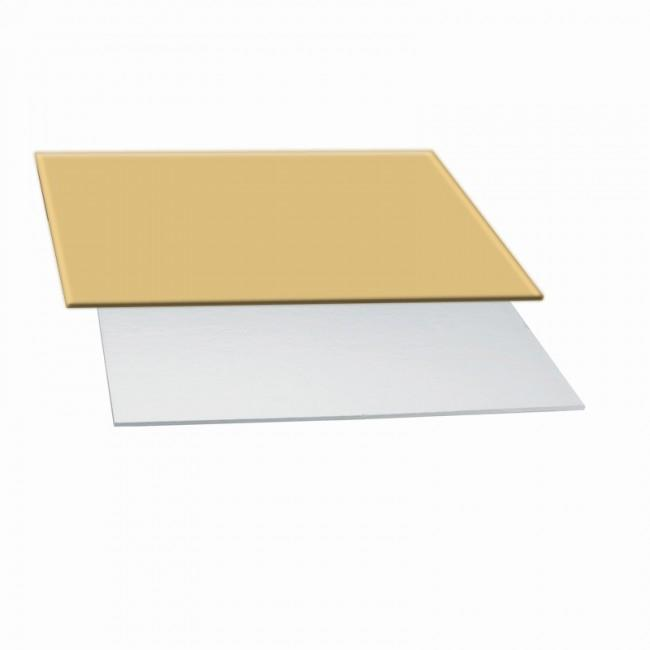 Vassoio rettangolare bicolore argento/oro cm 35 x 25