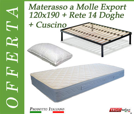 Offerta Pack Tutto Compreso Materasso a Molle Export da Cm. 120x190 + Rete Vienna 14 Doghe + Cuscino  - Made in Italy