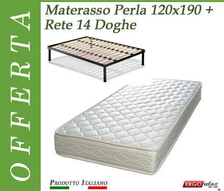 Offerta Pack Tutto Compreso Materasso Perla da Cm. 120x190/195/200 + Rete Vienna 14 Doghe - Made in Italy