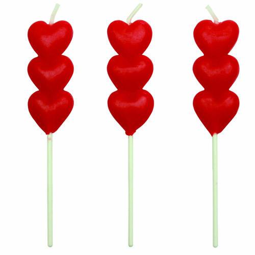 Set 8 candeline cuori rossi