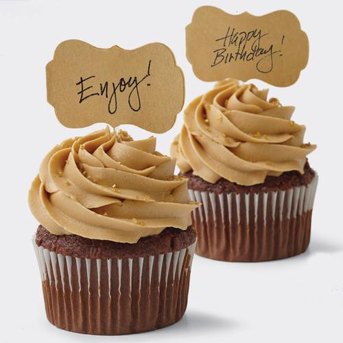 Set 24 etichette con bastoncino per cupcakes carta Kraft Wilton