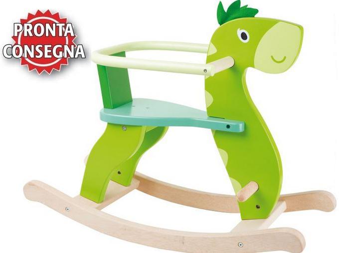 """Dinosauro a Dondolo in Legno Naturale verniciato """"Dino"""" per Bambini della Legler"""