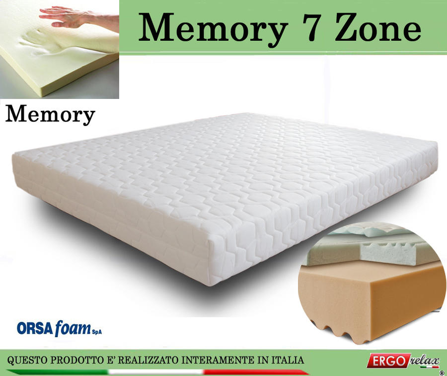Materasso Memory Mod. 7 Zone da cm 150x190/195/200 Zone Differenziate Anallergico Sfoderabile - Ergorelax