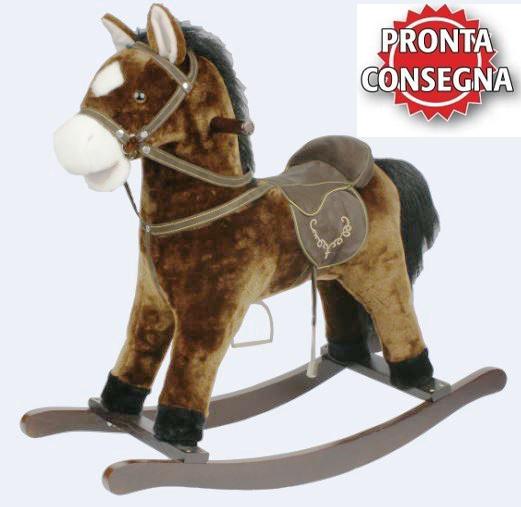 """Cavallo a Dondolo """"Nitrito Beige"""" con Bocca che si muove in Legno Naturale e Tessuto di Mister Wood"""