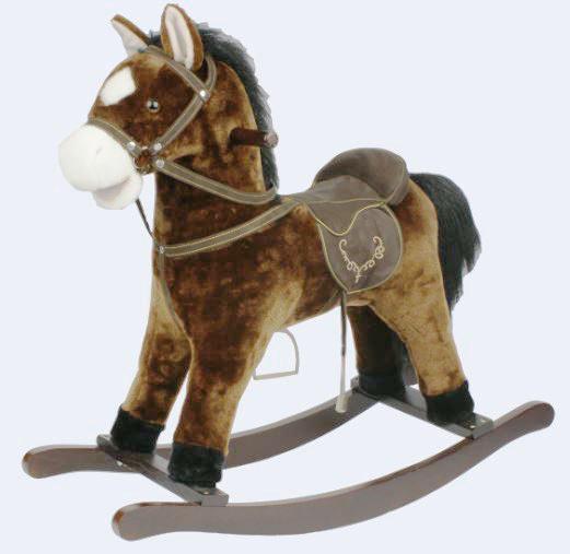 Cavallo Dondolo Per Bambini.Cavallo A Dondolo Nitrito Beige Con Bocca Che Si Muove In Legno Naturale E Tessuto Di Mister Wood