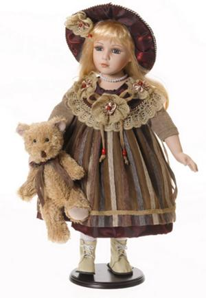 "Bambola Porcellana ""Adele`s Puppenhaus Collection"", edizione limitata 999 pezzi ""Carlotta"" RF Collection Made in Germany"
