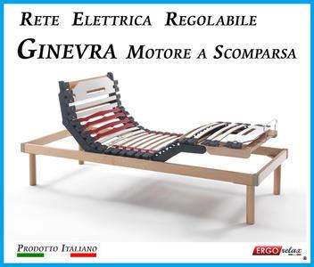 Rete Elettrica Regolabile Ginevra con Motore a Scomparsa a Doghe di Legno da Cm. 90x190/195/200  Prodotto Italiano