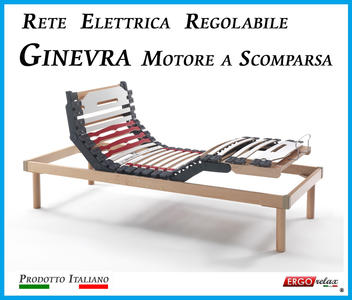 Rete Elettrica Regolabile Ginevra con Motore a Scomparsa a Doghe di Legno da Cm. 120x190/195/200  Prodotto Italiano