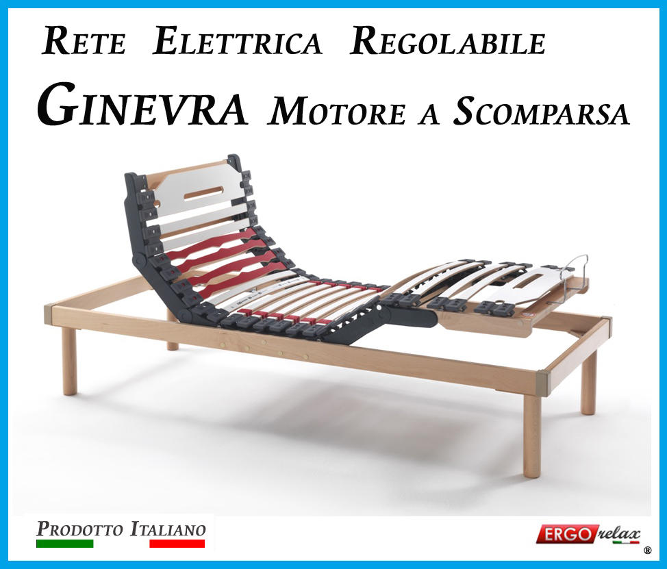 Reti Da Letto Elettriche.Rete Elettrica Regolabile Ginevra Con Motore A Scomparsa A Doghe Di Legno Da Cm 165x190 195 200 Prodotto Italiano