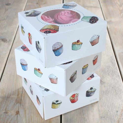 Set 3 scatola porta cupcakes 4 posti  decoro cupcakes