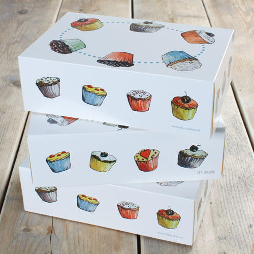 Set 3 scatola porta cupcakes 6 posti  decoro cupcakes