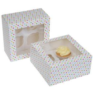 Set 2 scatola porta 4  cupcakes decoro confetti