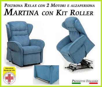 Poltrona Relax Martina Sfoderabile 2 Motori con Alzapersona e Kit Roller Prodotto Italiano