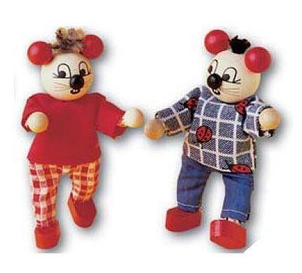 """Casa delle Bambole in Legno """"Mouse"""" Completa di Due Topolini di Rulke Holzspielzeug"""