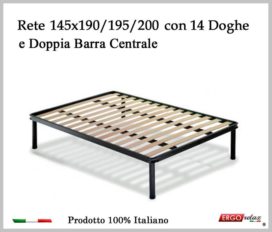 Rete per materasso a 14 doghe in faggio VIENNA da cm 145x190/195/200 con Doppia Barra Centrale cm. 100% Made in  Italy