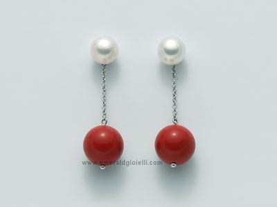 PER2068 Orecchini pendenti con Perla e Corallo Rosso Miluna