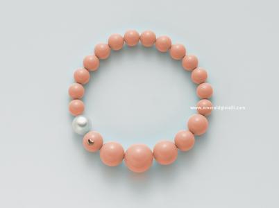 PBR2392 Bracciale con Corallo Rosa e Perla Miluna