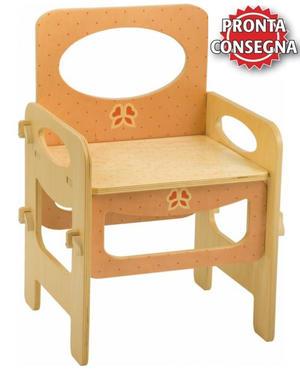Sedia per Bambini in Legno Naturale Decorato di Dida - Colori Pastello