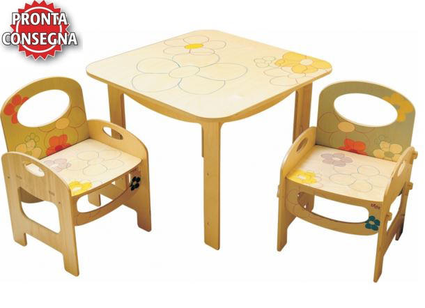 Tavolo Quadrato a Fiori per Bambini in Legno Naturale Decorato di Dida