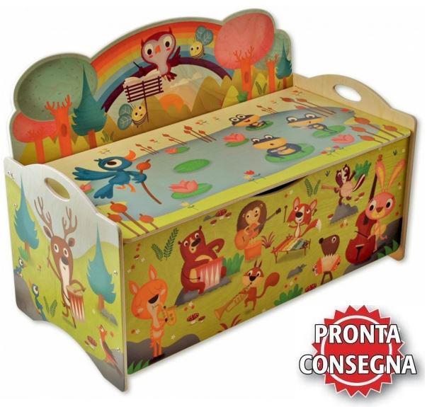Cassapanca Legno Per Bambini.Cassapanca Porta Giochi Concerto Nel Bosco Per Bambini In Legno Naturale Di Dida