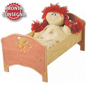 Lettino Rosa per Bambole in Legno Naturale per Bambini di Dida