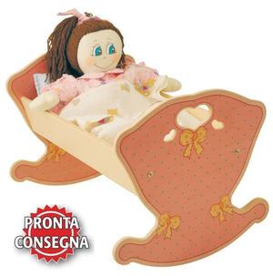 Culla a Dondolo Rosa e Fiocco per Bambole in Legno Naturale per Bambini di Dida