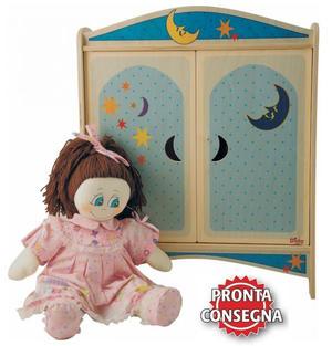 Armadietto Luna per Bambole in Legno Naturale Decorato per Bambini di Dida