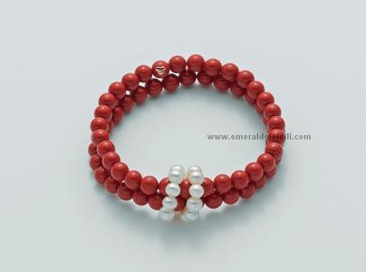 pbr2219 Bracciale color Corallo Rosso e Perle Miluna