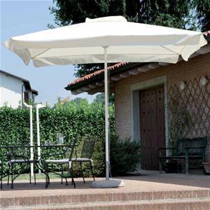 Ombrellone impermeabile da giardino QUADRATO 3x3 fusto bianco centrale alluminio con carrucola 5051