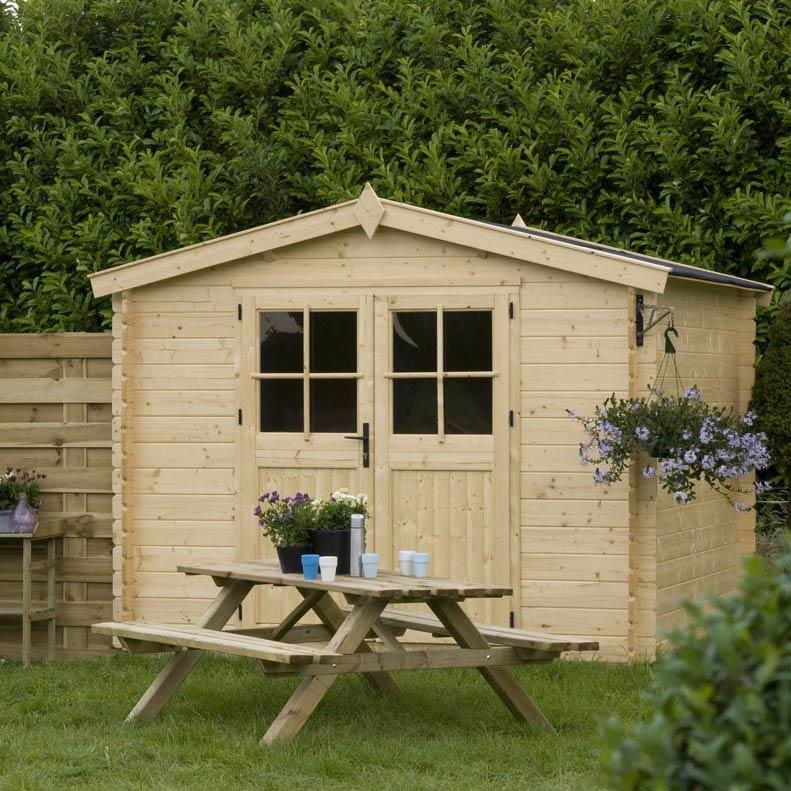 Casetta da giardino modello ST MORITZ ricovero attezzi in legno perline ad incastro cm 250 x 250 cm