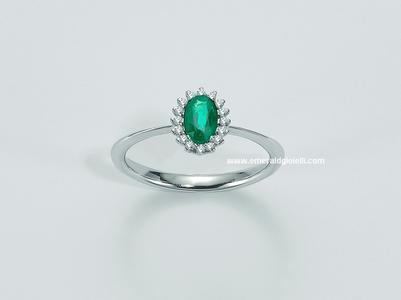 lid2832 Anello con Smeraldo e Diamanti -