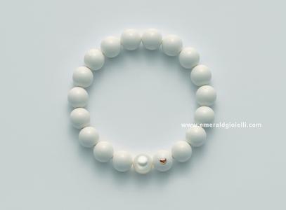 PBR1805 Bracciale di Corallo Bianco e perla Miluna