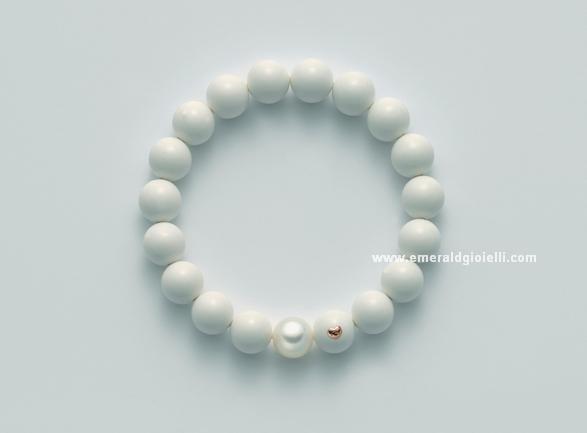 PBR1805 Bracciale color Corallo Bianco e perla Miluna