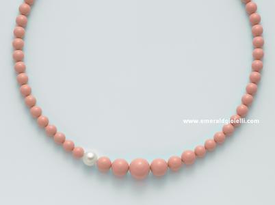 pcl5167 Girocollo di Corallo Rosa e Perla Miluna -