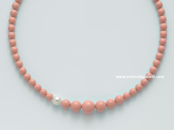 pcl5167 Girocollo Color Corallo Rosa e Perla Miluna -