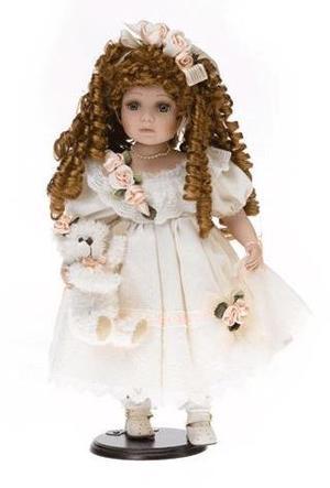Bambola da Collezione in Porcellana con Vestito Rosa e Orsacchiotto RF Collection Qualità Made in Germany