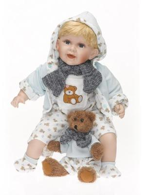 """Bambola Bebè in Porcellana """"Adele`s Puppenhaus Collection"""", edizione limitata 999 pezzi """"Emil"""" RF Collection Made in Germany"""
