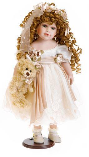 Bambola da Collezione in Porcellana con Vestito brillante e capelli ricci RF Collection Qualità Made in Germany
